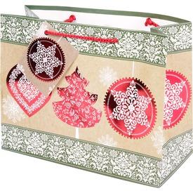 Karácsonyi ajándéktáska - piros, 23 x 18 cm