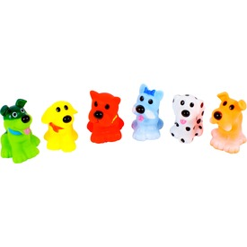 Kutyák 6 darabos fürdőjáték készlet - 7 cm
