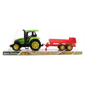 Műanyag traktor utánfutóval - 31 cm
