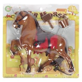Műanyag lovacska - barna, 21 cm