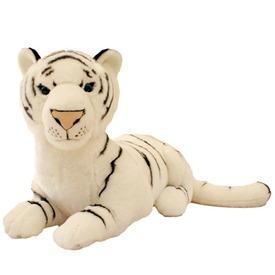 Fehér tigris fekvő plüssfigura - 75 cm
