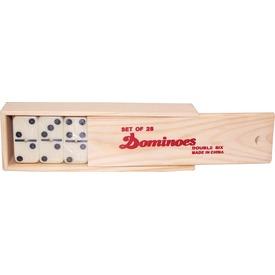 Műanyag dominó fa dobozban