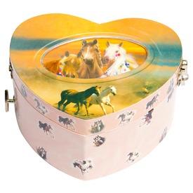 Lovas szív alakú zenélő doboz