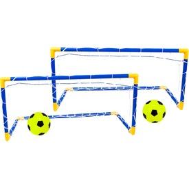 Műanyag focikapu készlet két labdával és pumpával