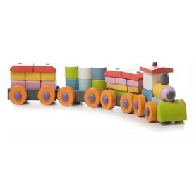 Vonat 37 darabos fa építőjáték
