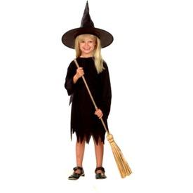 Boszorkány jelmez - fekete, 110-120-as méret