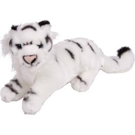Fehér tigris fekvő plüssfigura - 25 cm