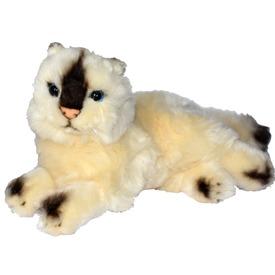 Sziámi cica fekvő plüssfigura - 25 cm