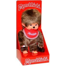 Monchhichi fiú figura piros előkével - 20 cm