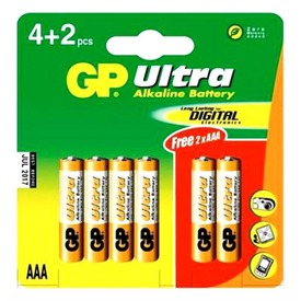 GP Ultra AAA mikro elem 6 darabos készlet