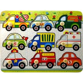 Autók az úton 9 darabos fa puzzle
