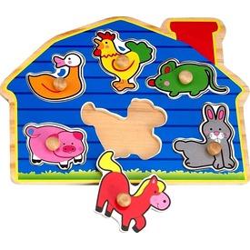 Tanyasi állatok 6 darabos fa puzzle