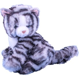 Cirmos cica ülő plüssfigura - szürke, 23 cm