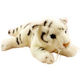 Tigris fekvő plüssfigura - fehér, 30 cm