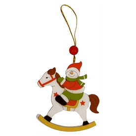 Hóember lovon karácsonyfadísz