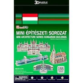 Magyarországi épületek 155 darabor mini 3D puzzle - többféle