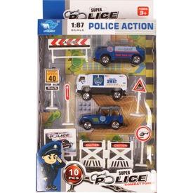 Rendőrautó 10 darabos készlet táblákkal