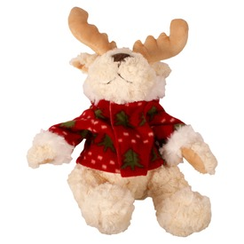 Karácsonyi rénszarvas plüssfigura pulóverben - 28 cm