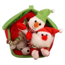 Karácsonyi plüss házikó figurákkal - 21 cm