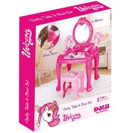 Unikornisos fésülködőasztal székkel