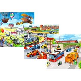 Járművek 3 x 49 darabos puzzle