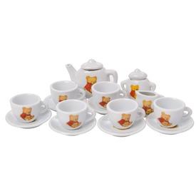 Porcelán teás készlet - macis, 17 darabos