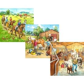 Lovasiskola 3 x 49 darabos puzzle
