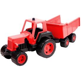 Műanyag traktor utánfutóval - zöld, 68 cm