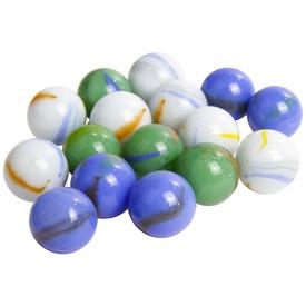Üveggolyó 50 darabos - 16 mm, kék-zöld-fehér