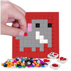 Pixie öntapadós mozaiklap, piros, 69 pixellel