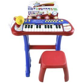 Elektromos zongora mikrofonnal és székkel