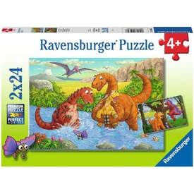 Puzzle 2x24 db - Dínók világa