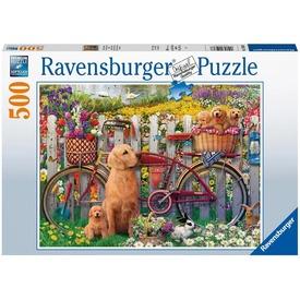 Puzzle 500 db - Kutyusok a kertben
