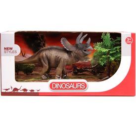 Triceratops dínó készlet bokorral - 20 cm