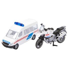 Magyar rendőrségi busz és motor