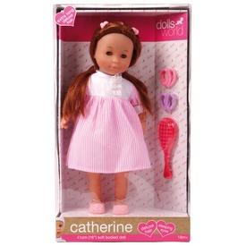 Catherine baba hosszú hajjal - barna, 41 cm