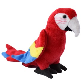Papagáj plüssfigura - piros, 15 cm
