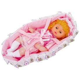 Alvó baba mózeskosárral, hanggal