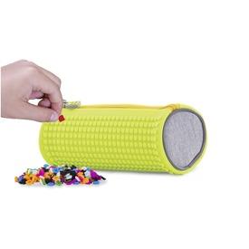 Pixie szürke /sárga henger tolltartó, 100 pixellel