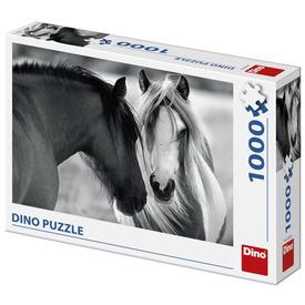 Puzzle 1000 db - Lovak fekete-fehérben