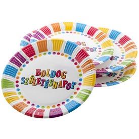 Csíkos-pöttyös Boldog Születésnapot tányér 23 cm