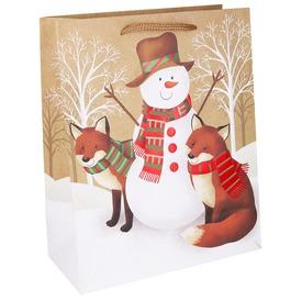 Papírtasak hóember rókákkal 2632
