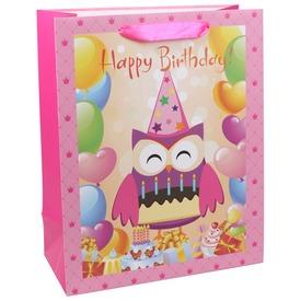 Happy Birthday baglyos ajándékzacskó - 26 x 32 cm