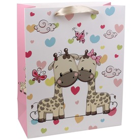 Zsiráfok és szívek ajándékzacskó - 26 x 32 cm