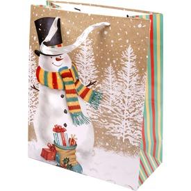 Hóember sállal ajándékzacskó - 26 x 32 cm