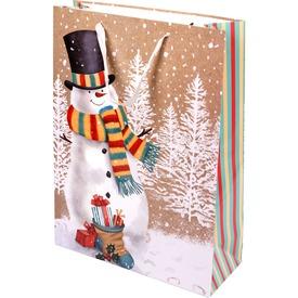 Hóember sállal ajándékzacskó - 31 x 42 cm