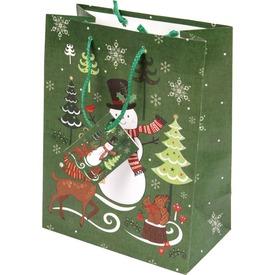 Hóember és fenyő ajándékzacskó - 18 x 23 cm