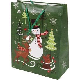 Hóember és fenyő ajándékzacskó - 26 x 32 cm