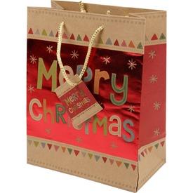 Merry Christmas ajándékzacskó - 18 x 23 cm