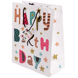Happy Birthday fehér papírtasak 18 x 23 cm